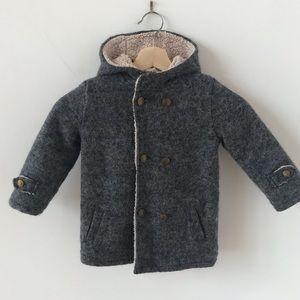 Mayoral baby boys wool faux shearling coat